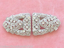 ANTIQUE ART DECO 2.50ctw DIAMOND PLATINUM BROOCH PIN DOUBLE DRESS CLIPS 1930