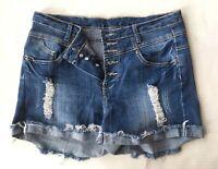 Rue 21 High Waist Jean Shorts Womens Size 5 6 Distressed Denim Stitch Frayed Hem