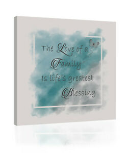Watercolours Duck Egg Blue & Grey Family Quote Canvas Wall Art Picture Print