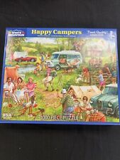 White Mountain 1000 Piece Puzzle HAPPY CAMPERS Classic Tent Picnic