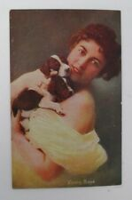 Lucky Dogs, Pretty Lady with 2 Puppies Postcard, 1907-1915