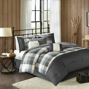 7pc Rustic Grey & Ivory Buffalo Plaid Comforter Set AND Decorative Pillows
