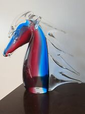 HUGE MURANO ART GLASS HORSE HEAD SCULPTURE ARTISAN BLOWN GLASS SOMMERSO RED BLUE