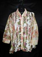 Coldwater Creek L White Pink Green Sheer Blouse Long Sleeve Summer Shirt Lg