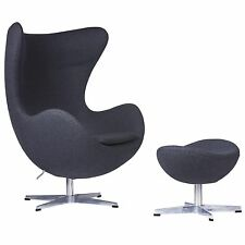 LeisureMod Arne Jacobsen Egg Style Occasional Chair & Ottoman in Dark Gray Wool