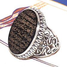 Islamic Mens Ring Ayat al-Kursi engraved 925 Sterling Silver natural Black Onyx