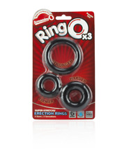 Screaming O Ringo Penis Rings 3-pack Asst Sizes - Waterproof  - Black New in Box