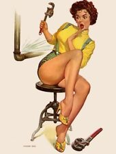Vintage Sexy Pin-up Fix-it Girl PHOTO Plumber Legs Heels Art Print Pinup