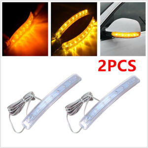 2PCS 8LED Yellow Auto Car SUV Side Mirror Amber Indicator Soft Turn Signal Light