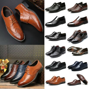 Mens Formal Leather Oxfords Dress Shoes Business Pointed Wedding Work Shoes Size