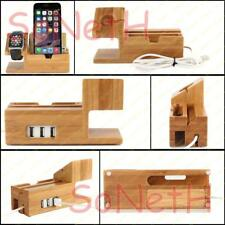DOCK STATION IN LEGNO BAMBOO CARICABATTERIA ALIMENTATORE IPHONE APPLE WATCH