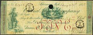 1870 Central Mining Company  $5.00 Bank Check  SHERMAN  Michigan