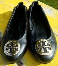 Tory Burch Reva Ballet Flats Leather Shoes Black Gold sz 9 w/DUSTBAG