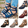 Ladies Peep Toe Mid Block Heel Sandals Womens Ankle Strap Rivets Cut Out Shoes