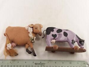 "2 ""ART"" COWS- SIGNED- 1 WOOD- 5 1/2"", 1 CLOTH- 6"""