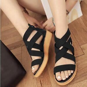 Summer Women Fashion Roman Gladiator Platform Strappy Flat Sandals