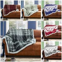 Flannel Sherpa Fairisle & Wiltshire Check Throw Super Soft Warm Cosy Blankets GC