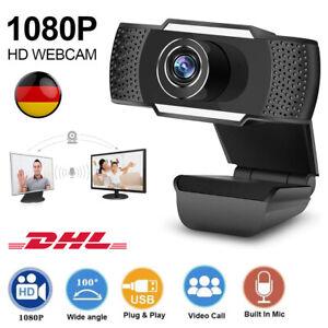 1080P Full HD Webcam Web Kamera mit Mikrofon USB Für Laptop PC Fernunterricht DE