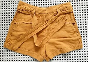 💜 COUNTRY ROAD Summer Linen Cotton Shorts Mustard Size 12 Buy7=FreePost L907