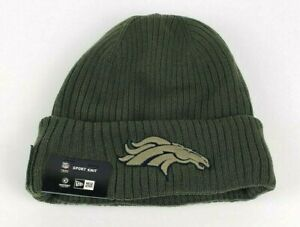 New Era Denver Broncos Adult Olive 2018 Salute To Service Cuffed Sport Knit Hat