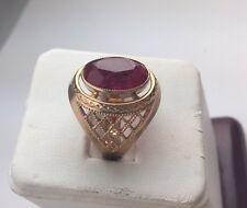 Large Soviet Rose Gold Ring 14K 585  Filigree Ruby USSR Russian