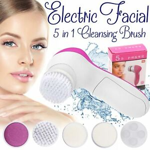 5 in 1 ELECTRIC FACIAL FACE SONIC SPA CLEANSING BRUSH BEAUTY CLEANSER EXFOLIATE