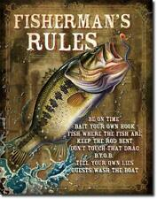 Fisherman's Rules Bass Fishing Humorous Funny Novelty Tin Metal Sign