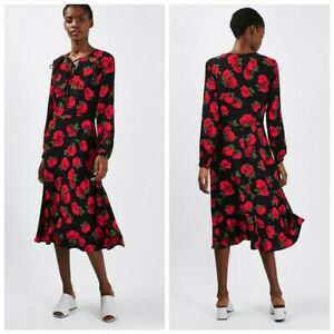 Topshop Midi Floral Tea Dress UK 10 Red Black Rose Print Keyhole Tie Front