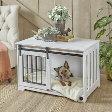 Pet Crate End Table Wooden Furniture Dog Kennel Cage Doghouse Country  White