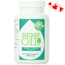 💊 Manitoba Harvest Hemp Oil 60 x 1000 mg Softgel Capsules Balanced Omega 3 & 6
