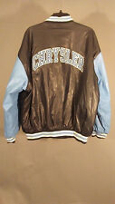 Chrysler Mopar Dodge XL Faux Leather Black Blue Logo Spell Out Varsity Jacket