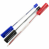 Blue / Black / Red Medium Ball Point Pens Writing Handwriting School Home Office