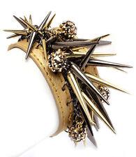 Wristband Leather Bracelet Cuff Spiked Gold Spikes Fireball Women Jewelry