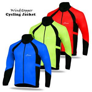 Men Cycling Windstopper Winter Jacket Thermal Fleece Windproof Long Sleeve Coat