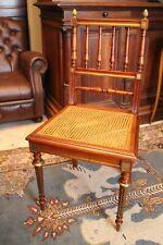 Chaise de bureau fin 19e en acajou massif ornements bronze style Louis XVI