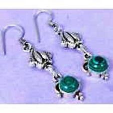 funky Lab Malachite & 925 Silver Handmade Designer drop Earrings 57mm G76-32603