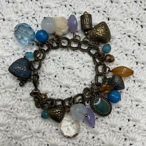 NEXT Dangly Charm Bracelet Bronze Tone Hearts Beads Flower Faceted Chain Link