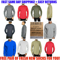S M L 2X 3X 4 5X Mens Long Sleeve Waffle Thermal Shirt Crew Neck Heavyweight Top
