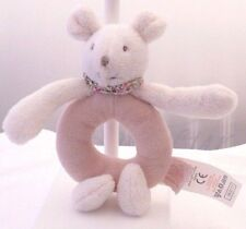 Moulin Roty souris rose Myrtille et Capucine Hochet grelot velours 15 cm