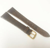 Speidel Genuine Lizard Leather Dark Brown Tone 19mm Gold Buckle Watch Band