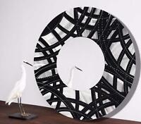 Silver/Black Contemporary Metal Wall Mirror Modern Art Accent Decor by Jon Allen