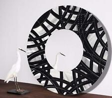 Silver/Black Contemporary Metal Wall Mirror Modern Art Accent Decor by Jon Allen