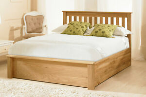 Traditional Solid Oak Ottoman Style Gas Lift Storage Bed, Oak, Double, 5FT, 6FT