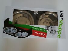 Pet Shoppe Deluxe Dog Cat Dinner Set Removable Stainless Steel Food Bowls Pets