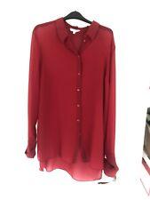 Beautiful Next Red Longline Shirt Blouse Size 18 New Dipped Hem