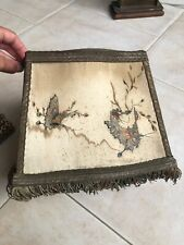 ancien abat-jour oval en soie à franges pour lampe Chinoise Japonaise Asiatique