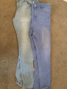 TWO PAIRS OF LADIES BLUE SKINNY JEANS UK SIZE 18 GREAT CONDITION