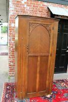 English Antique Art Deco Oak 1 Doors Cabinet Wardrobe / Armoire