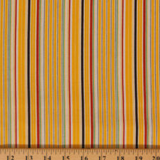 """Aunt Grace """"Ties One On"""" Yellow Stripe Cotton Fabric Print by Yard D485.12"""