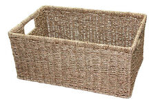 Deep Seagrass Storage Basket Small Bathroom Kitchen Laundry Greens Drawer Filing